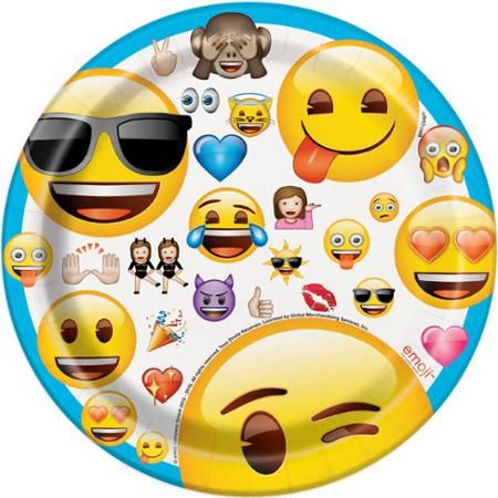 7 Emoji Party Plates 8 Count