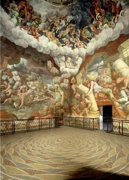 Giulio Romano, Fall of the Giants, 1530-1532. Room of Palazzo del Tè, Mantua, Italy.