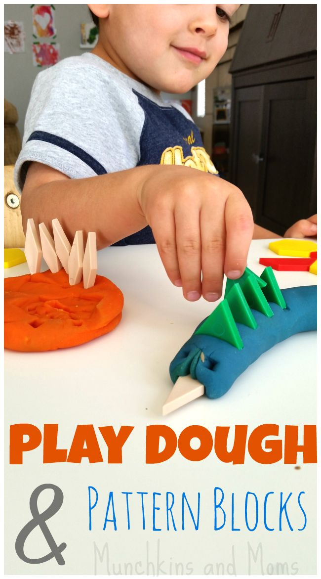 Pattern Blocks and Play Dough. Love this idea for a preschool center!