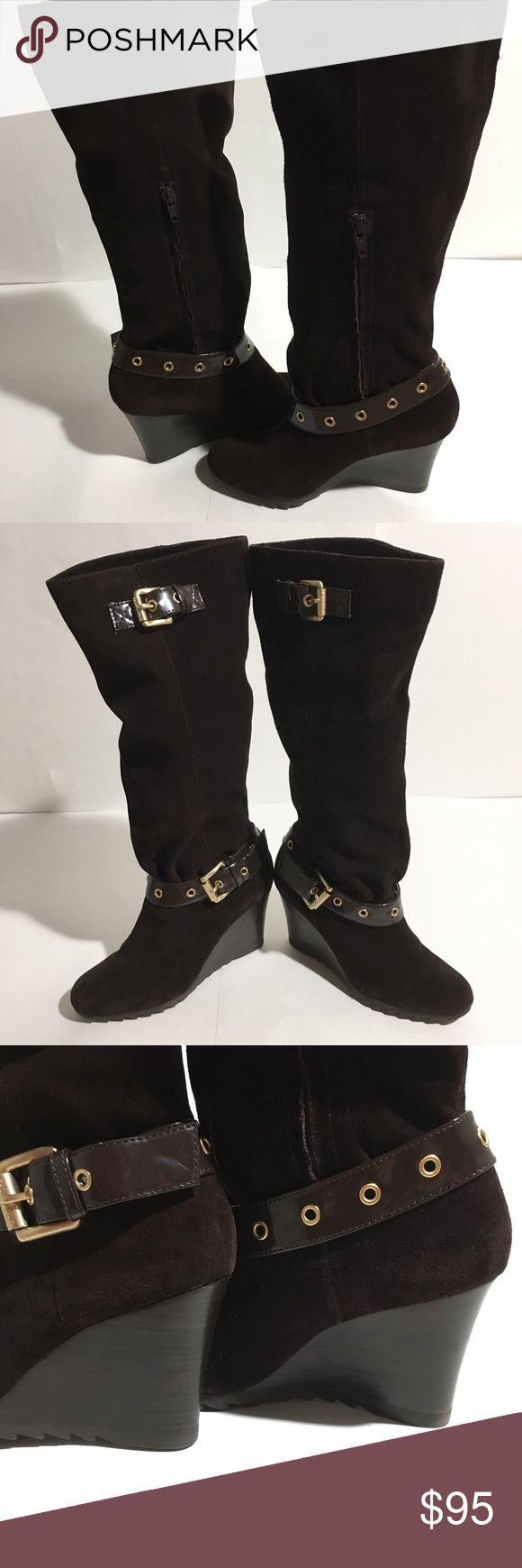 Michael Kors Brown Norma Suede Knee High Boots 5.5 5.5M, 3.5 inch wedge, brown suede with buckle, excellent condition Michael Kors Shoes Heeled Boots