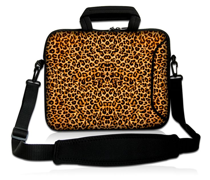 "15"" Leopard Prints Universal Laptop Bag Case Sleeve w/ Shoulder Strap,Handle,Outside pocket For 14""-15.6"" Laptop Notebook"
