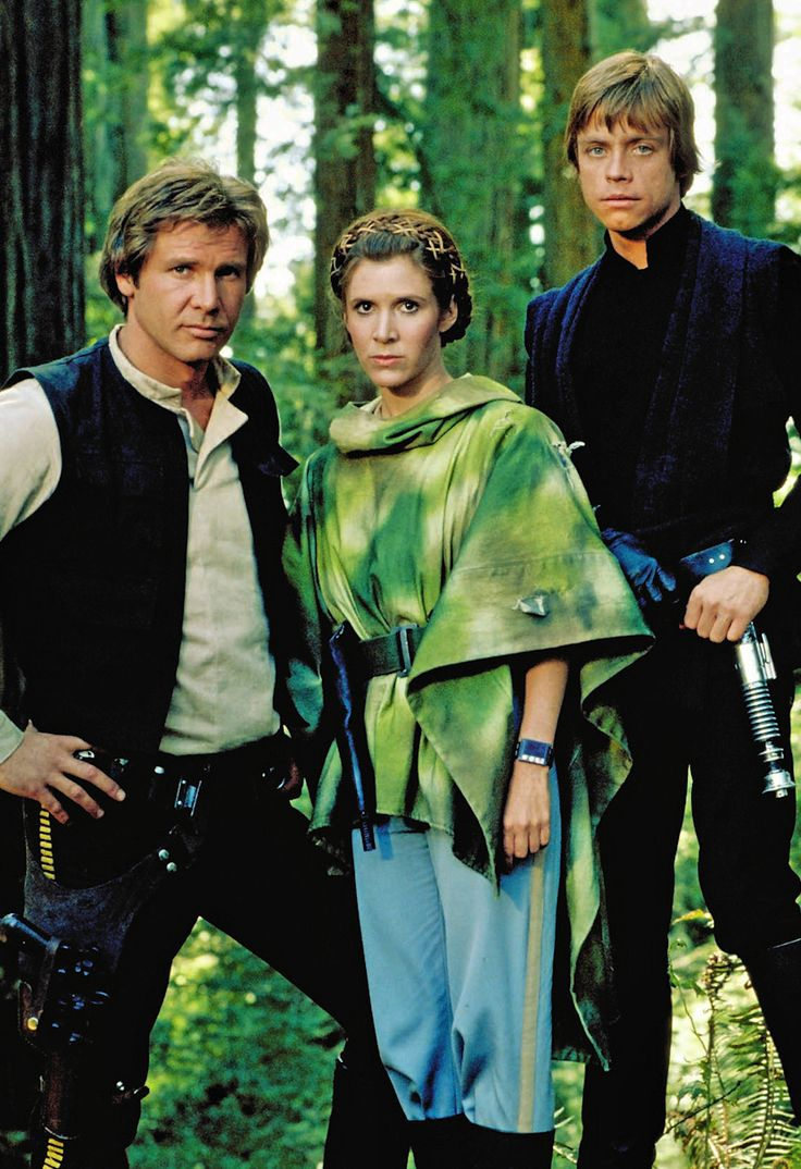 Harrison Ford, Carrie Fisher and Mark Hamill in Star Wars Episode VI: Return of the Jedi, 1983