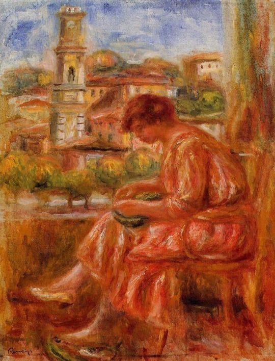 Woman at the Window with a View of Nice by Pierre-Auguste Renoir