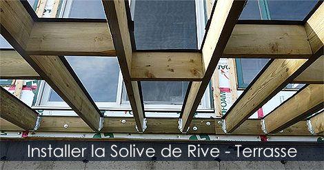 Construire une Terrasse - Installer la solive de rive ou madrier d'assise - Plan de terrasse - Guide pour construire une terrasse. Instructions: http://www.jardinage-quebec.com/guide/construire-une-terrasse/terrasse-en-bois.html