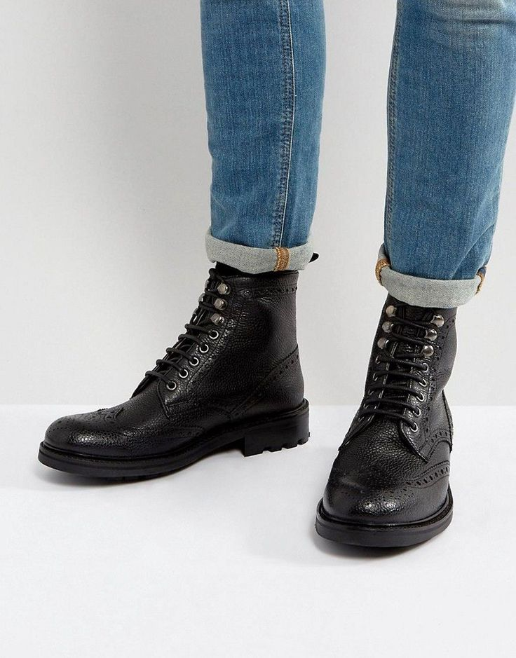 Walk London Sean Leather Brogue Boots - Black