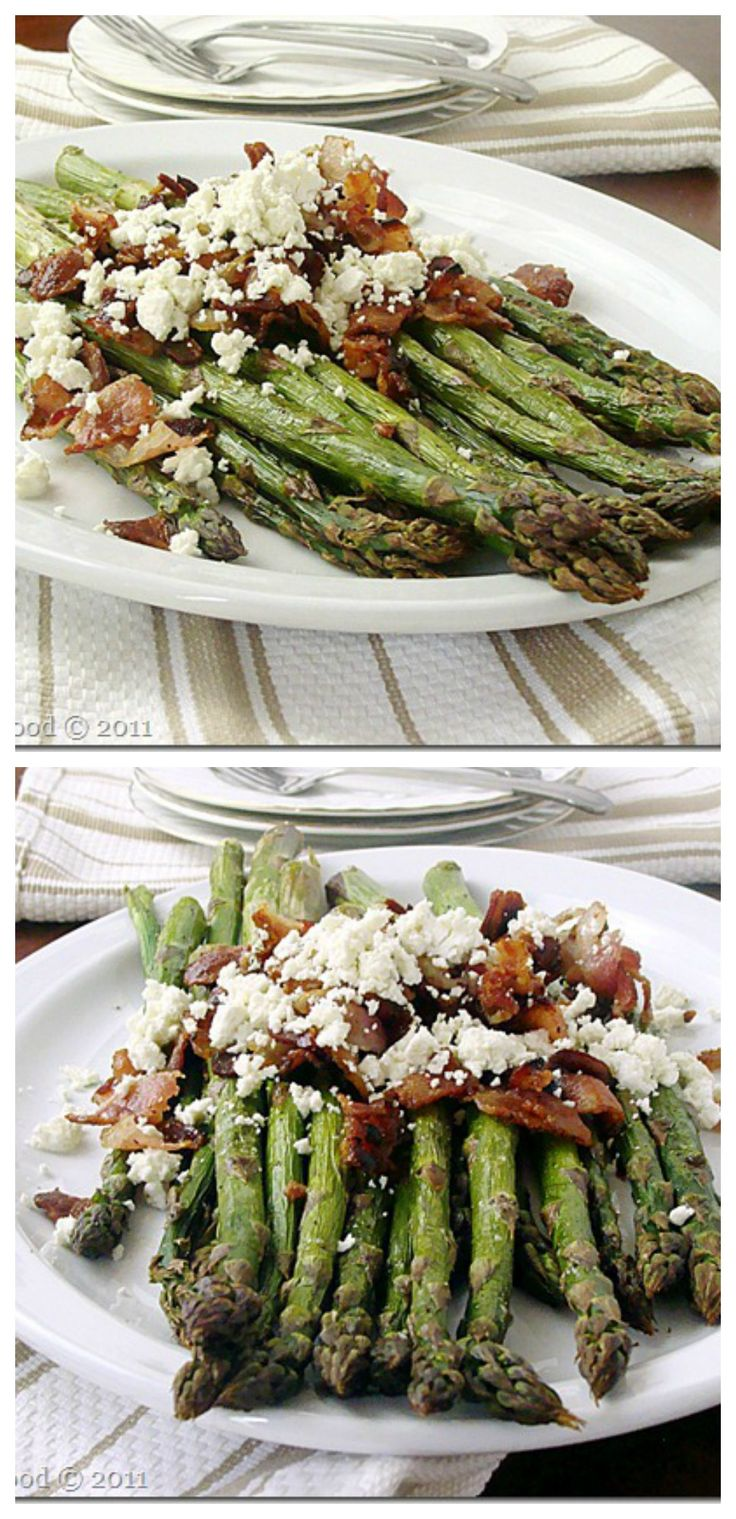 {Macedonia} Roasted Asparagus with Bacon and Feta Cheese | www.diethood.com