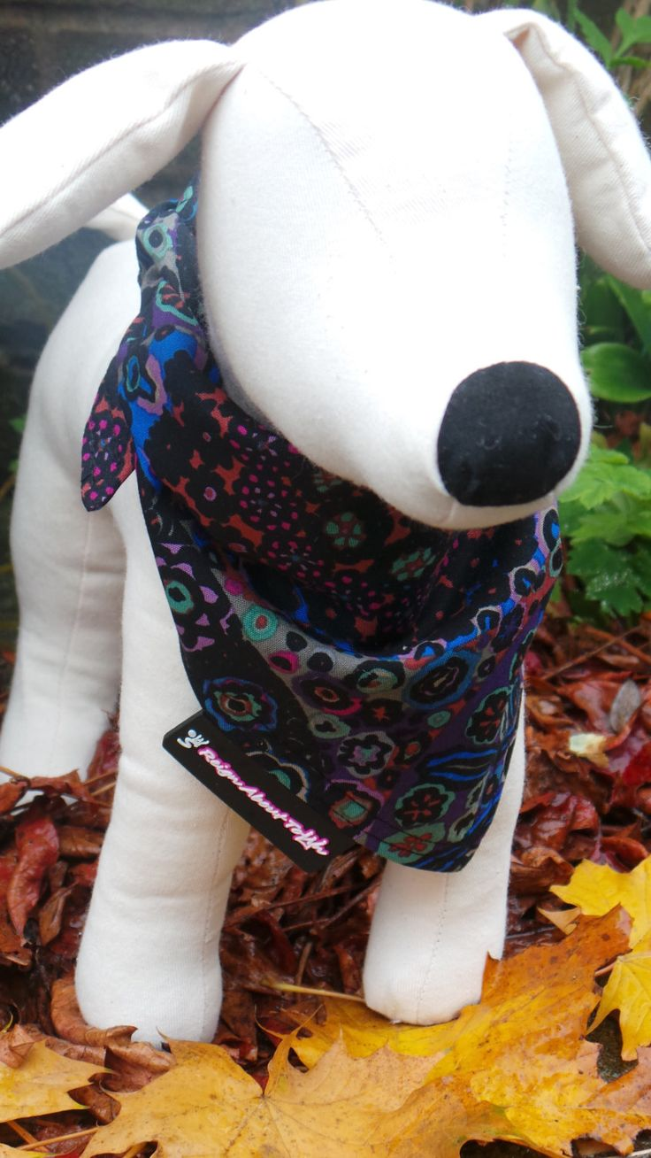 Blue and Purple Printed 100% Cotton Dog Bandana.  Autumn Print. Lotus Millefiore Dark Rowan Fabric. Pet Neckwear. Reign About Town. by ReignAboutTown on Etsy