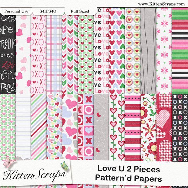 Love u 2 Pieces Paper Pack-Patterns  created by KittenScraps, Digital Scrapbooking