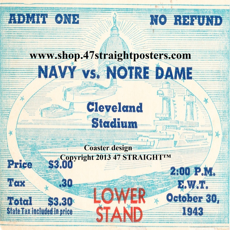 Football gifts. Available soon! 1943 Navy vs. Notre Dame Football Ticket Coasters™ made from an authentic 1943 college football ticket. #47straight #football #gifts #giftideas #Notredame Notre Dame football gifts, Navy football gifts, college football gifts. Ceramic drink coasters printed in the U.S.A. and shipped within 24 hours!