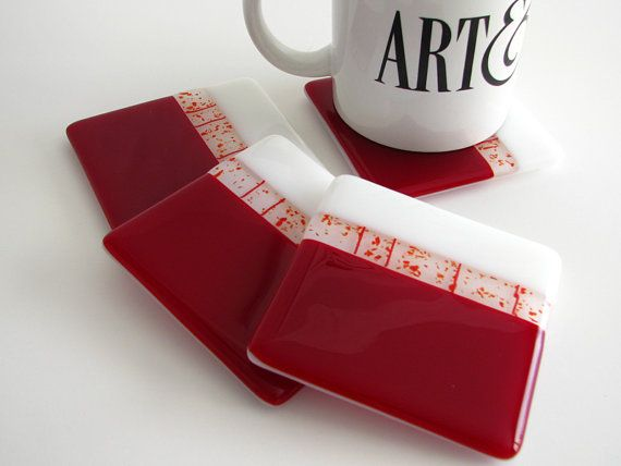 Festive Red Fused Glass Coasters 0048 by GetGlassy on Etsy, $35.00