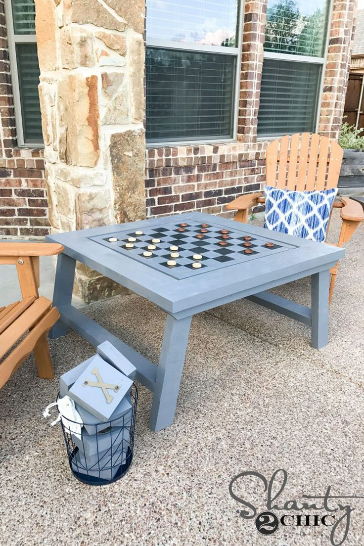 DIY Outdoor Checkers Table  - CountryLiving.com