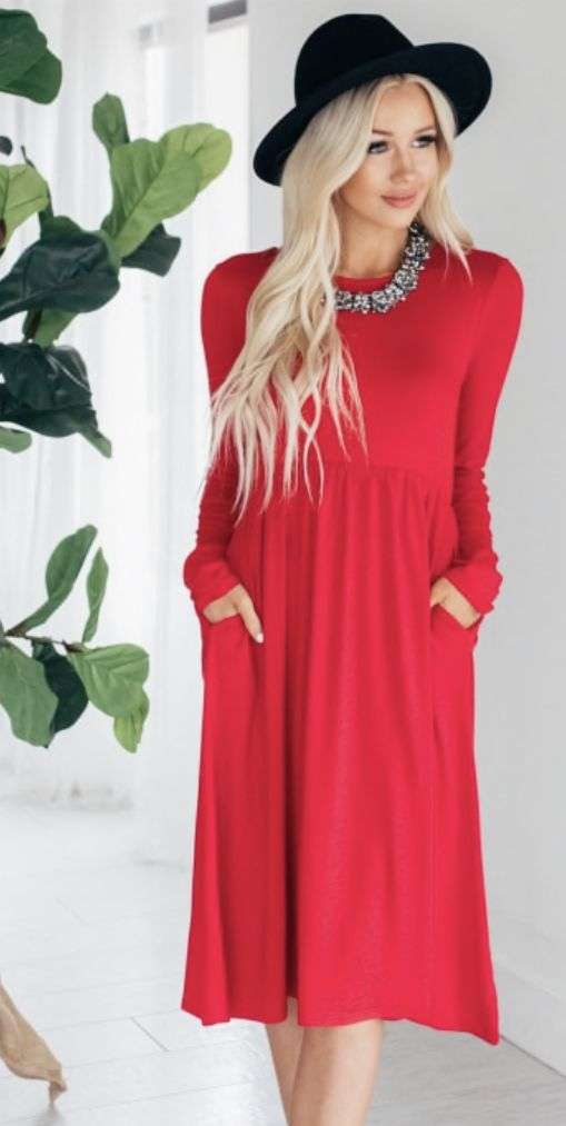 b428417e82 Zenana Outfitters Women s Long Sleeve Midi Dress Burgundy Olive Ruby Purple  in 2019