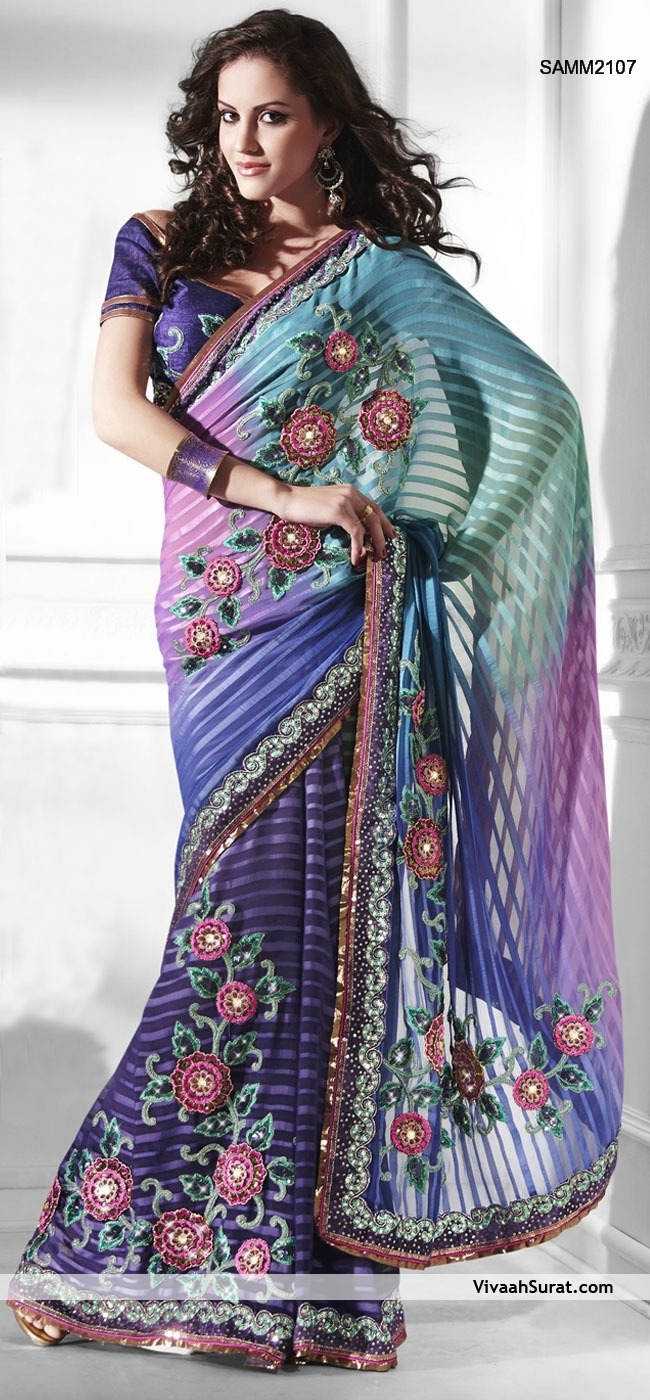 embroidered saree | Home » Sarees » Purple Embroidered Chiffon Saree