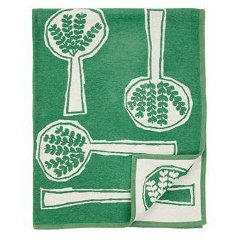 Forest spoon chenille deken - groen - Klippan Yllefabrik