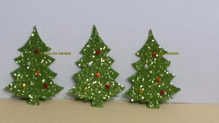 árbol navidad goma eva glitter apoximado 10 cm alto. Pack x 5 unidades