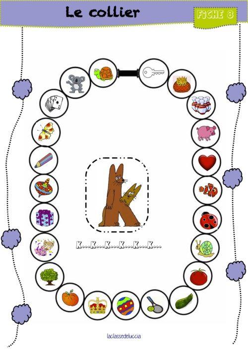 jeu du collier pour travailler le phonème [k]