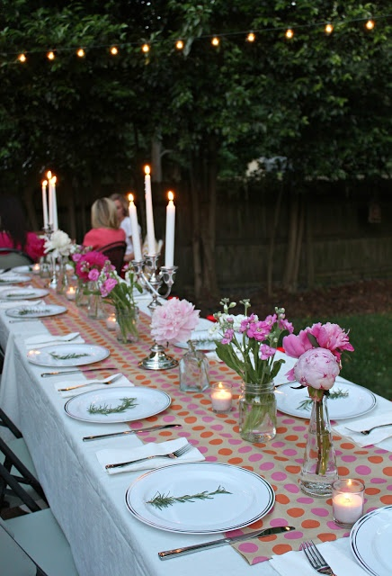 Backyard entertaining is fun and quite beautiful. Even a miniature of this for your family (although my family of 9 would fill the table) is a great idea as well. It would inspire great conversation.