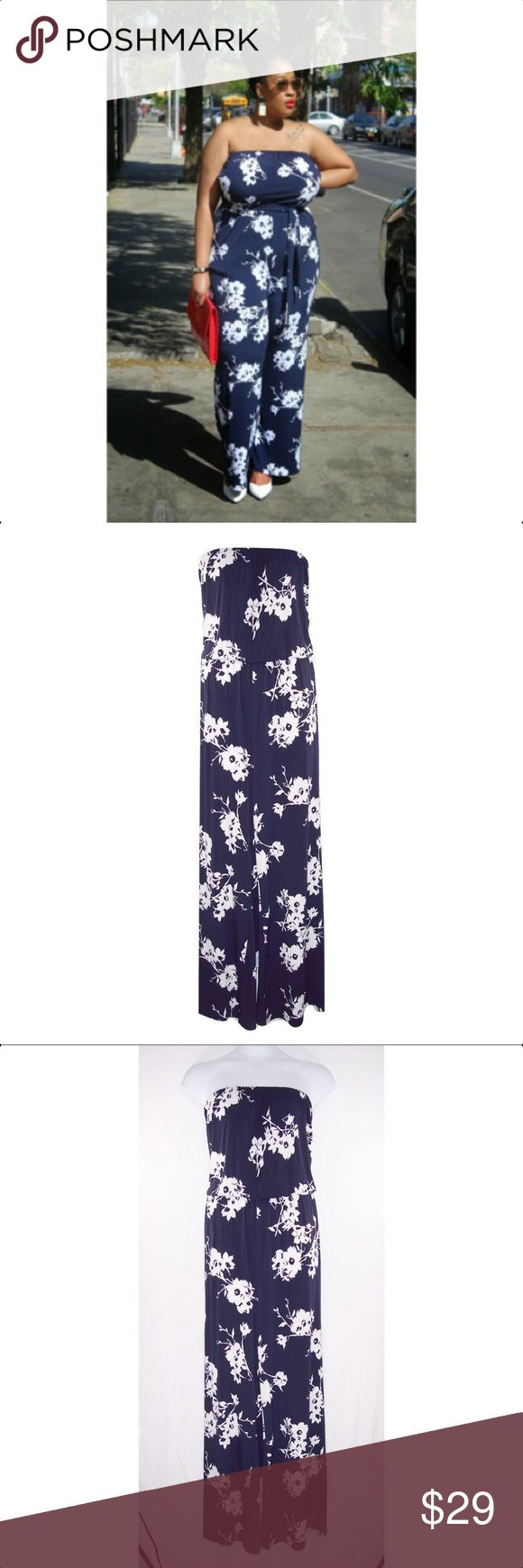 LANE BRYANT 18/20 Floral Romper Jumpsuit-NEW Navy & White in color, is strapless with elastic at top, elastic waist, floral print, rounded pockets at sides, flared legs, soft silky fabric is 95% polyester, 5% spandex and machine washable. **IT HAS BELT LOOPS BUT NO BELT COMES WITH IT.** Brand label has been cut through to prevent retail store returns. NWOT Comes from a smoke free home. Measurements: elastic top-38 to 52 (stretched), bust-44 to 54 (stretched), elastic waist-38 to 50…