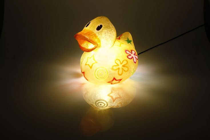 Ling the Duck - fiberglass lamp  Handmade fiberglass lamp. It can be used as a floor or desk lamp, or even as a night-light for the children's room.  Fiberglass material means it is robust and lightweight, which makes it ideal for use in the children's room. The bulb is screwed inside the lamp, so it can be placed safely on any surface; even carpeted or wooden floor.