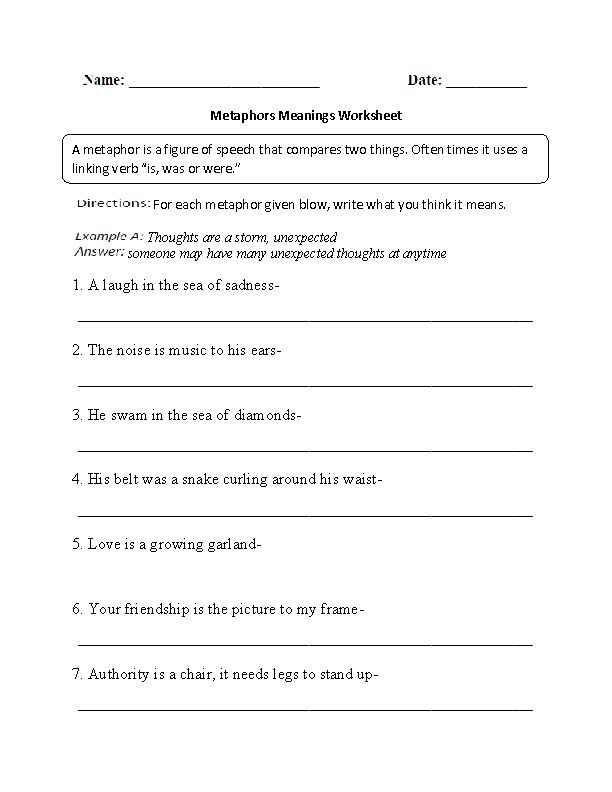 4th Grade Worksheets Best Coloring Pages For Kids Teaching Figurative Language Similes And Metaphors Figurative Language Worksheet