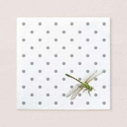 Dragonfly with grey polka dots napkin - humor funny fun humour humorous gift idea