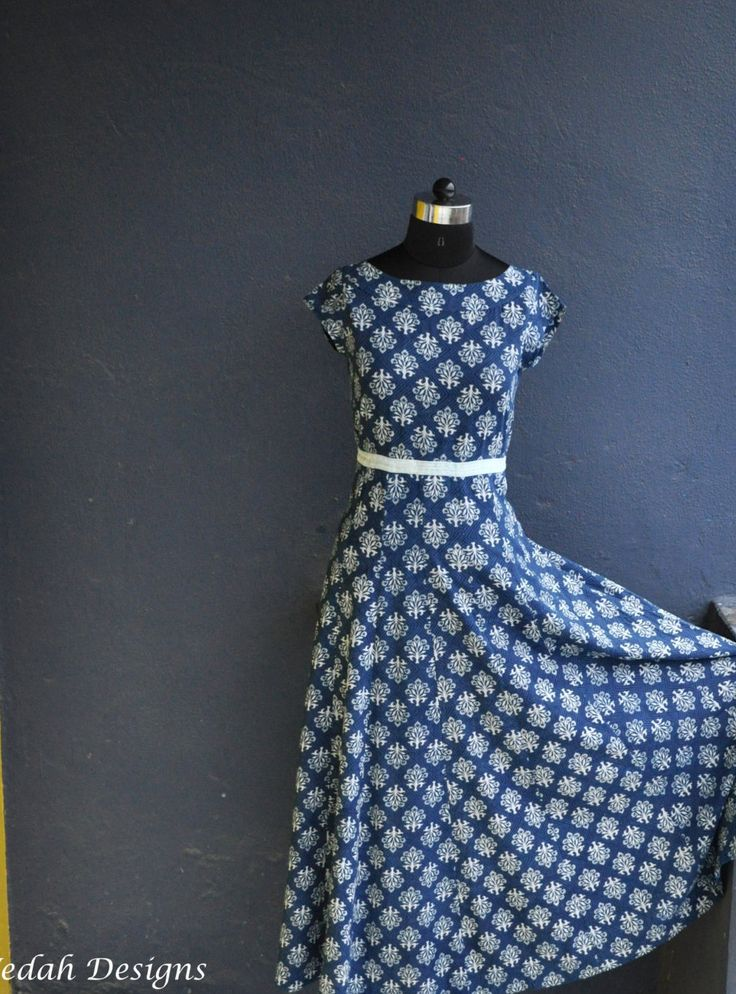 Indigo Block print cotton dress boho dress by VedahDesigns on Etsy
