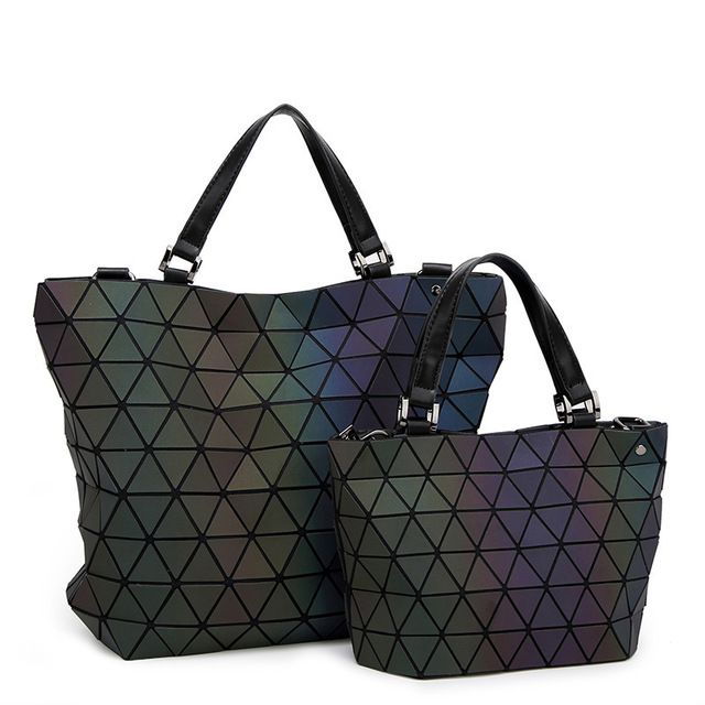 Sale $17.96, Buy BaoBao Bags 2017 Women Bucket Bag Geometry Sequins Mirror Saser Plain Folding Shoulder Bags Luminous PU Tote Bao Bao Handbags