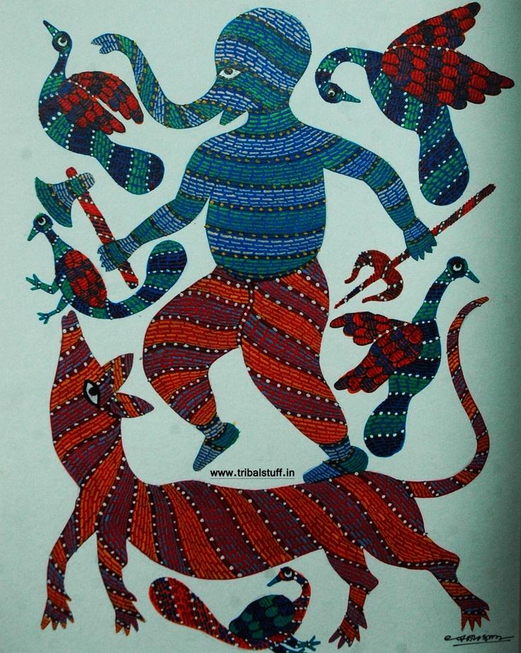 gond tribal art painting art211417372 handpainted