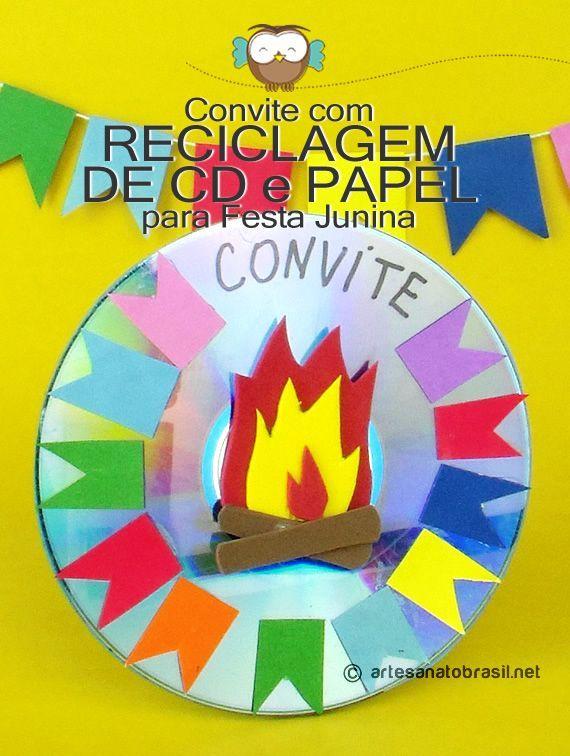 Convite de festa junina com CD   #convite #festajunina #reciclagem