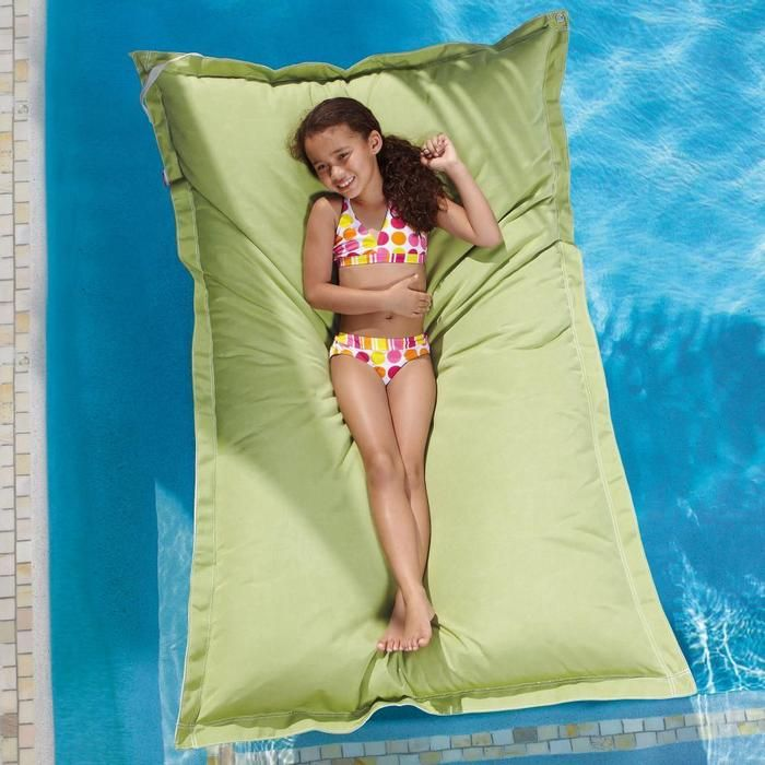 Forget stiff, plastic pool floats that get hot in the sun.This swimming pool float is constructed of breathable, marine-grade Sunbrella fabric. It's flexible, keeps it's cool and is filled with millions of loose buoyant foam beads. The result is complete and gentle support for your entire body. You literally feel like you're floating on air! For ages 8 and up.