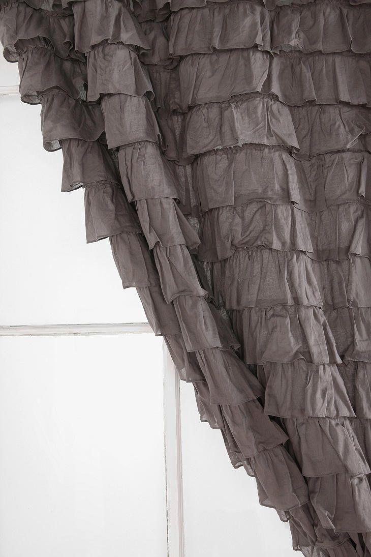 Black ruffle curtains - Waterfall Ruffle Curtain