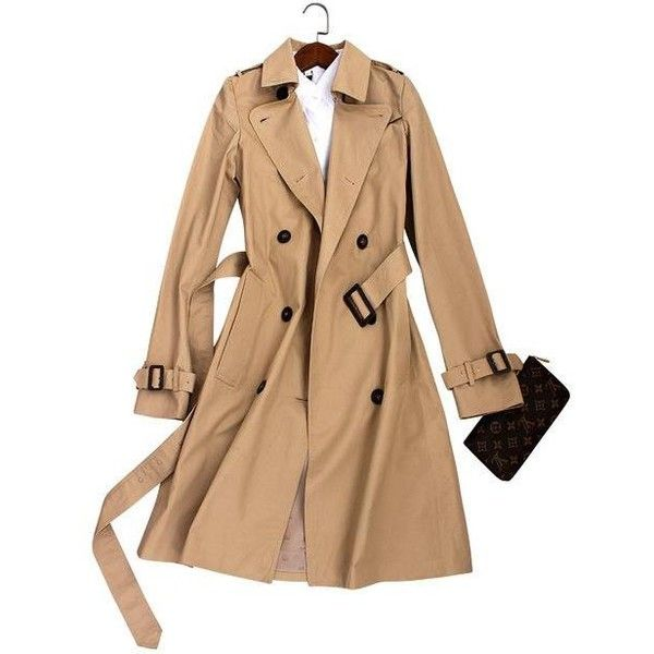 Classic Double Breasted Trench Coats ($68) ❤ liked on Polyvore featuring outerwear, coats, trench coats, double-breasted trench coat, short coat, beige trench coat and beige coat