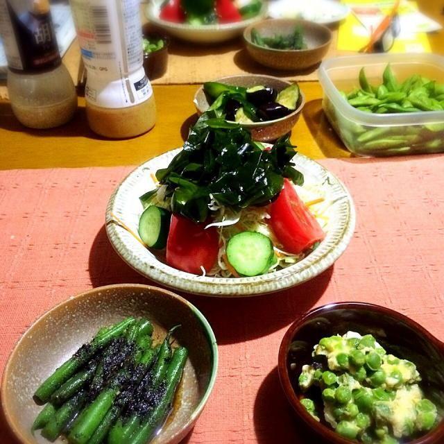 野菜をたくさんいただいたので今日は野菜づくし - 10件のもぐもぐ - ☆いんげんの胡麻和え、☆グリンピースの玉子とじ、☆わかめサラダ by yukomama12