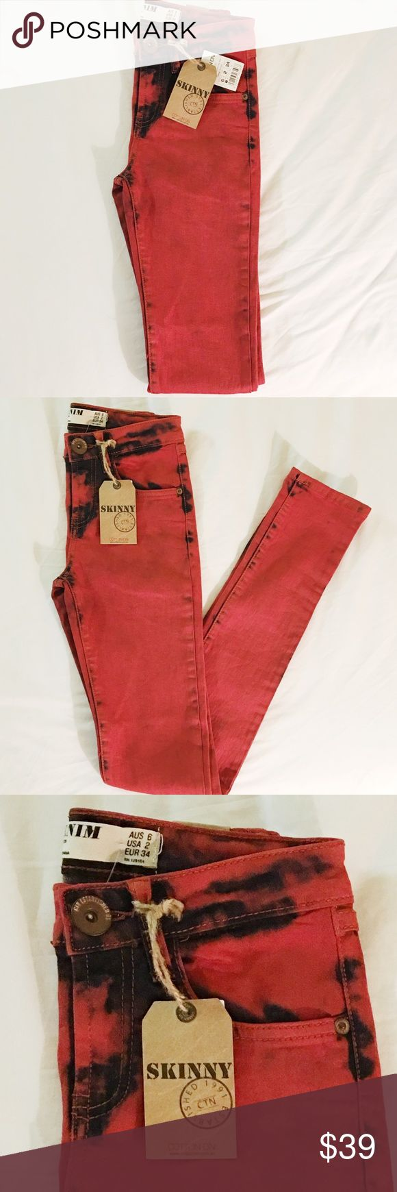 Denim Cotton On size 2 Red Skinny Jeans sz2 Cotton On DENIM Skinny Jeans size 2   These jeans look good on everyone! Quality threads   * Us 2 EUR 34 Australia 6   * Quality premium denim  * Measurements COMING SOON  * Brand New With Tags   I am 🙊 ⭐️⭐️⭐️⭐️⭐️ 5-Star rated plus Ship in 48hrs or less 📦! Cotton On Jeans Skinny