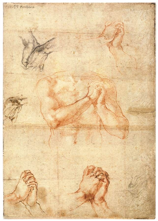 MICHELANGELO Buonarroti Male Upper Body with Folded Hands (verso) 1511-12 Red and black chalk, pen and brown ink, 272 x 192 mm