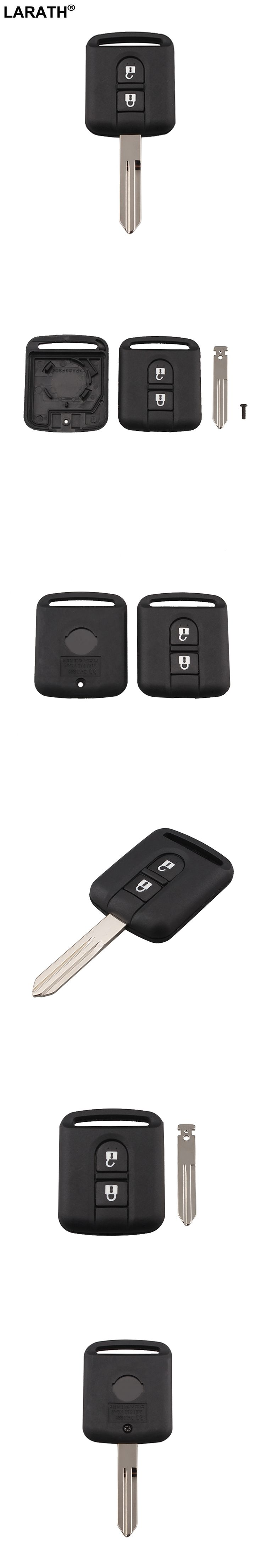 LARATH New Replacement 2 Button Remote Car Key Shell Case Fob Keyless Entry For Nissan Navara Pathfinder 2005 - 2014 With Blade