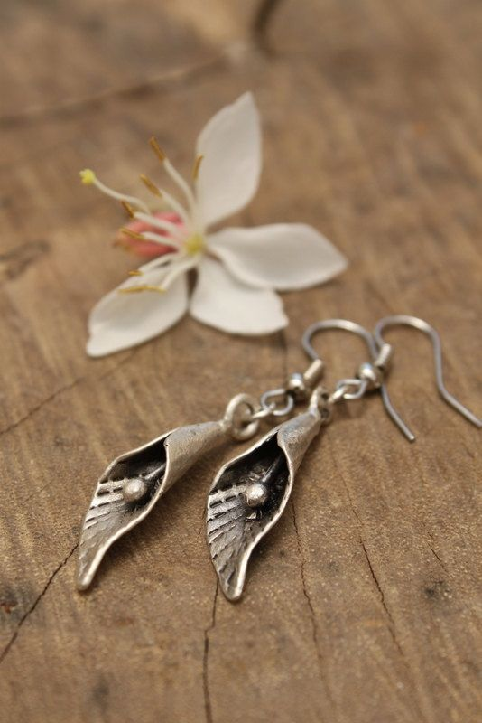 KALA FLOWER -delicate silver plated dangle earrings Rustic Vintage Ethnic look Bohemian Boho Bride Handcrafted Hippie Gypsy Gift for her on Etsy, $17.00