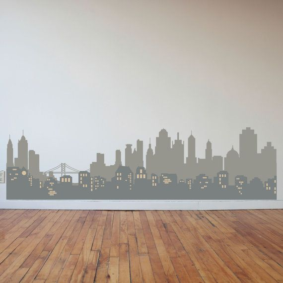 Layered City Skyline Silhouette with City Lights by danadecals