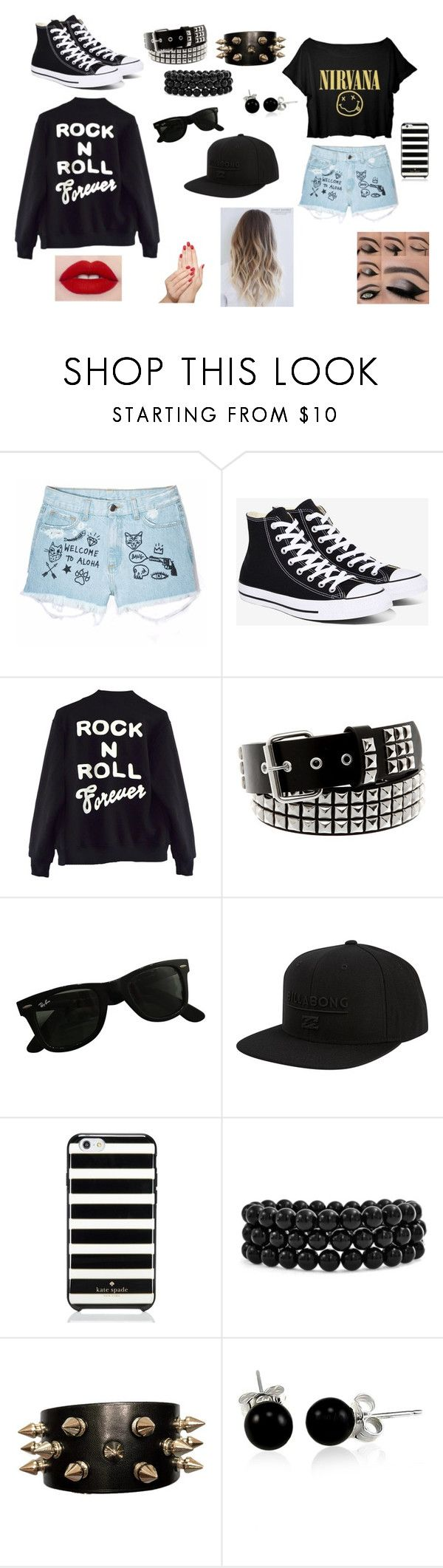 """""""mental abuse to humans"""" by withered-ros ❤ liked on Polyvore featuring Aloha From Deer, Converse, High Heels Suicide, Ray-Ban, Billabong, Kate Spade, Bling Jewelry and Piggy Paint"""