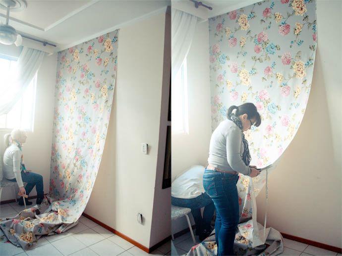 Aplicando tecido na parede - como fazer.