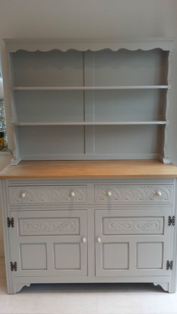 Oak Welsh Dresser painted in Farrow & Ball Purbeck Stone