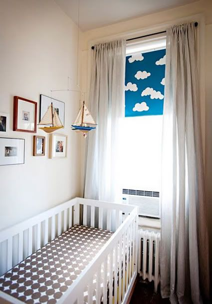 DIY cloud roller shades. Order roller shade to fit online, make cloud templates from cardboard- arrange on shade- trace, 3 coats of blue (she used glidden something or other) wait at least 3 days to dry.