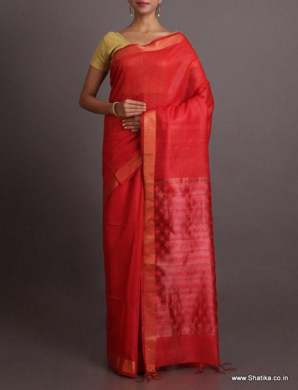 Shikha Ravishing Red With Self-Design Pallu #BhagalpuriSilkSaree