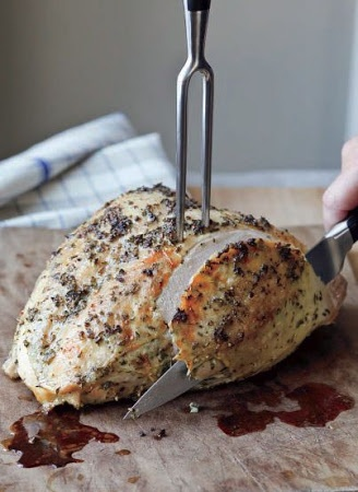 Week of January 7:Herb-Roasted Turkey Breast {Saving lots for leftovers!} Serving w/ stuffing, glazed carrots, and tangerines.