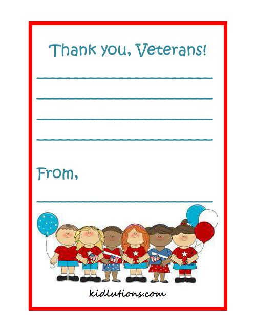 A Vetern's Day thank-you for classrooms, parents, homeschooling!  #ece #EarlyYears