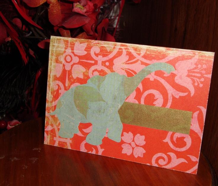 Indian Elephant Handmade Card. $2.50, via Etsy.