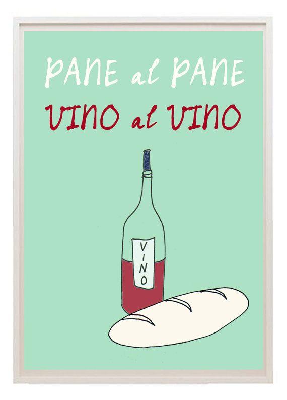 Italian kitchen art poster vino pane quote free door lebonvintage, $16.50