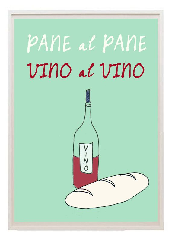 Italian kitchen art poster vino pane quote free door lebonvintage, $16.50