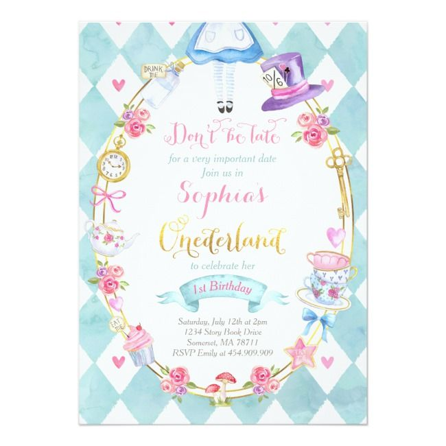 Alice Gift List Any Event Onederland Digital or Printed Alice in Wonderland Thank You Card 020-M Baby Shower Birthday Party