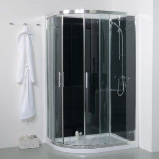 1200mm Offset Right Hand Quadrant Shower Cabin with Black Back Panels